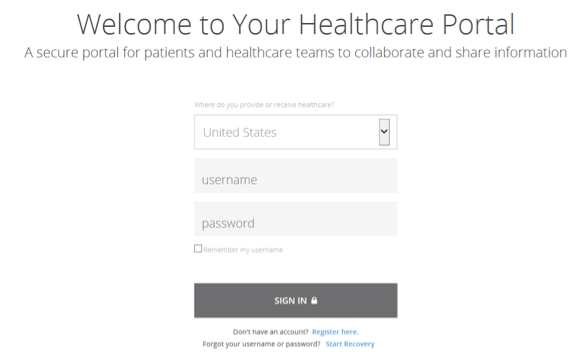 Healthcare Portal screen capture of step 1 - Welcome Page