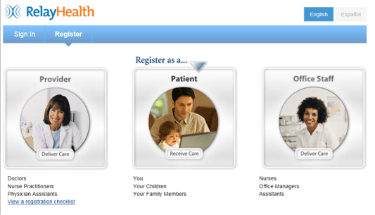Healthcare Portal screen capture of step 2 - Register