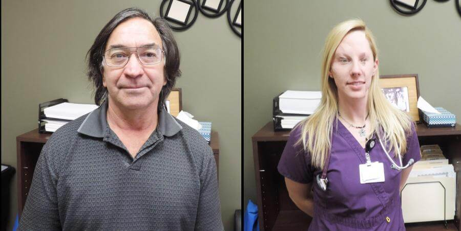 Selso Lopez (left) and Brittany Lavery (right) both work in the San Luis Valley Health Emergency Department.