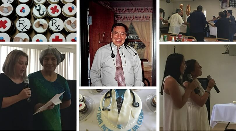 Collage of images of Dr. Celada's retirement party