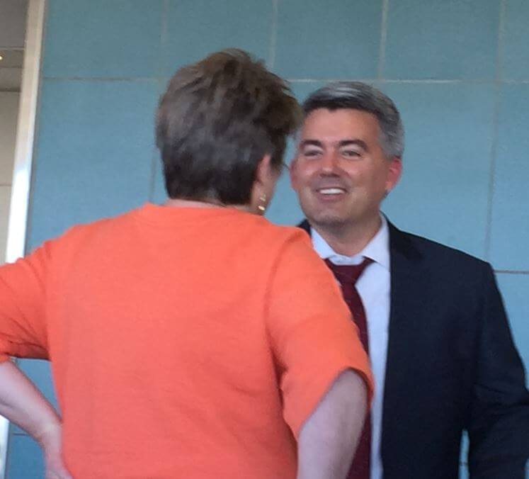 Konnie visited with CO US Senator Cory Gardner as they catch the same plane back to Colorado