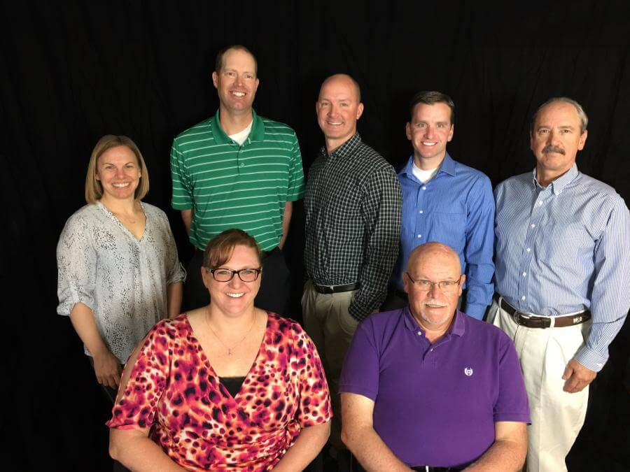 L to R, Front row: Tish Hollingsworth, PA-C, Botond Vita, PA-C, Back Row: Carissa Tripi, DO, Aaron Polzin, DC, Joseph Stephens, PT-D, Blake Clifton, MD and Craig Hankins, MD