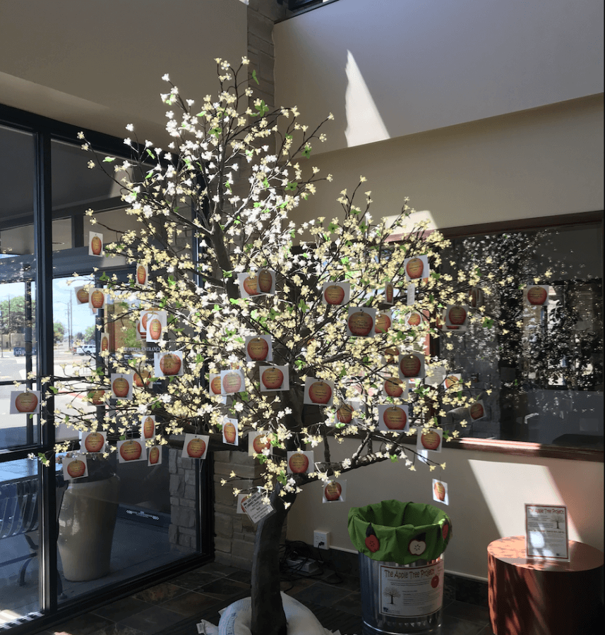 Pictured above: Apple Tree in the San Luis Valley Health Regional Medical Center front lobby on loan from Northriver Greenhouse