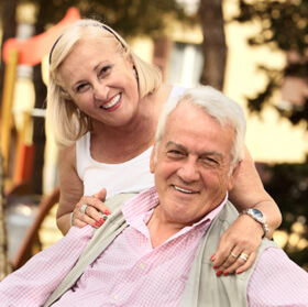 Man and woman couple, smiling, aged 65 or over